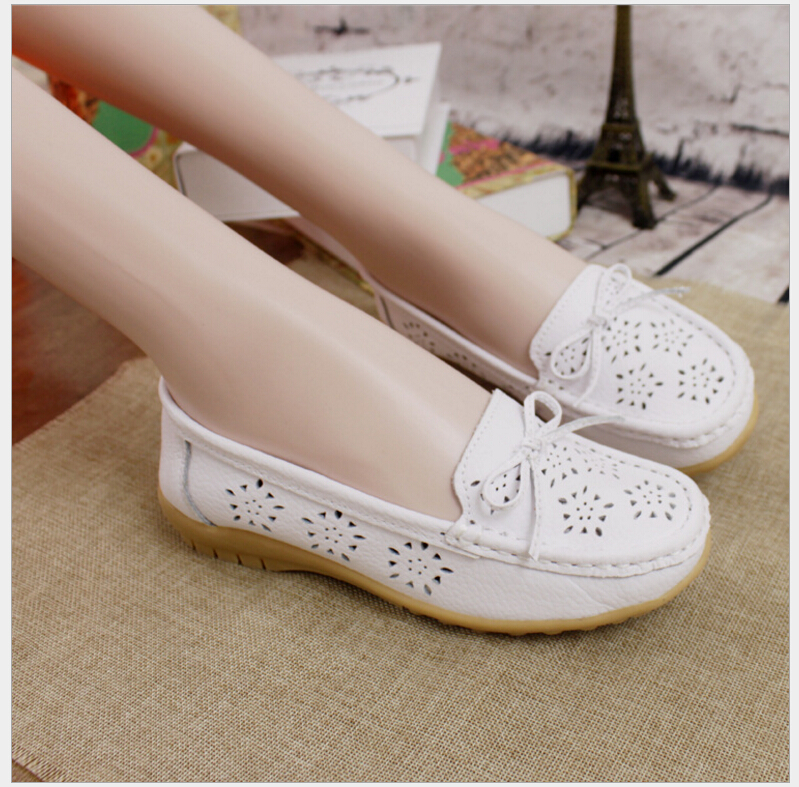 Spring Summer Genuine Leather Hollow Out Women Shoes Casual Flat Shoes Breathable 2017 Fashion Women Loafers Flats Size 35-41 shalini prasad explaining war and peace in international relations