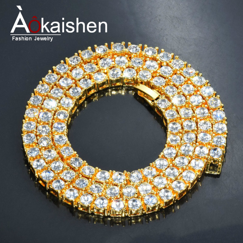 Men's Hip Hop Gold Finish 5mm Rhinestone Tennis Link Charm Punk Jewelry Fashion Necklace Choker Long Chain 16 18 20