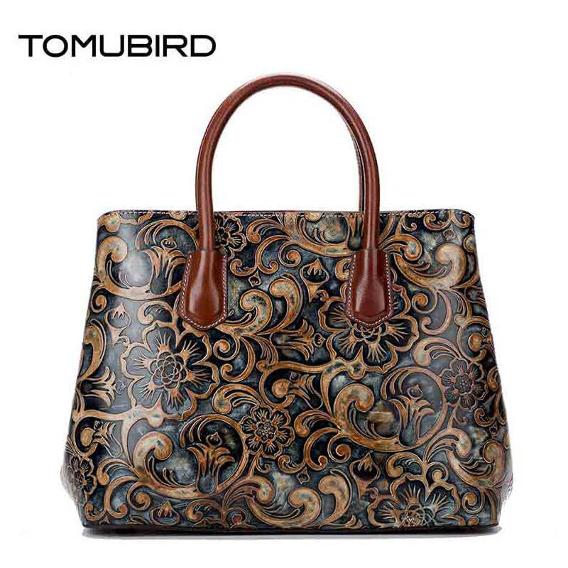 TOMUBIRD 2017 new superior leather Retro embossed designer famous brand women bag genuine leather tote handbags shoulder bag tomubird 2017 new superior cowhide leather painting genuine leather embossed women leather handbags tote leather shoulder bag