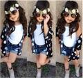 Розничная 2015 новых прибыть новорожденных девочек летний комплект с цветок верхней одежды 3 шт. комплект ткань установить девушки одежда костюм детская одежда комплект