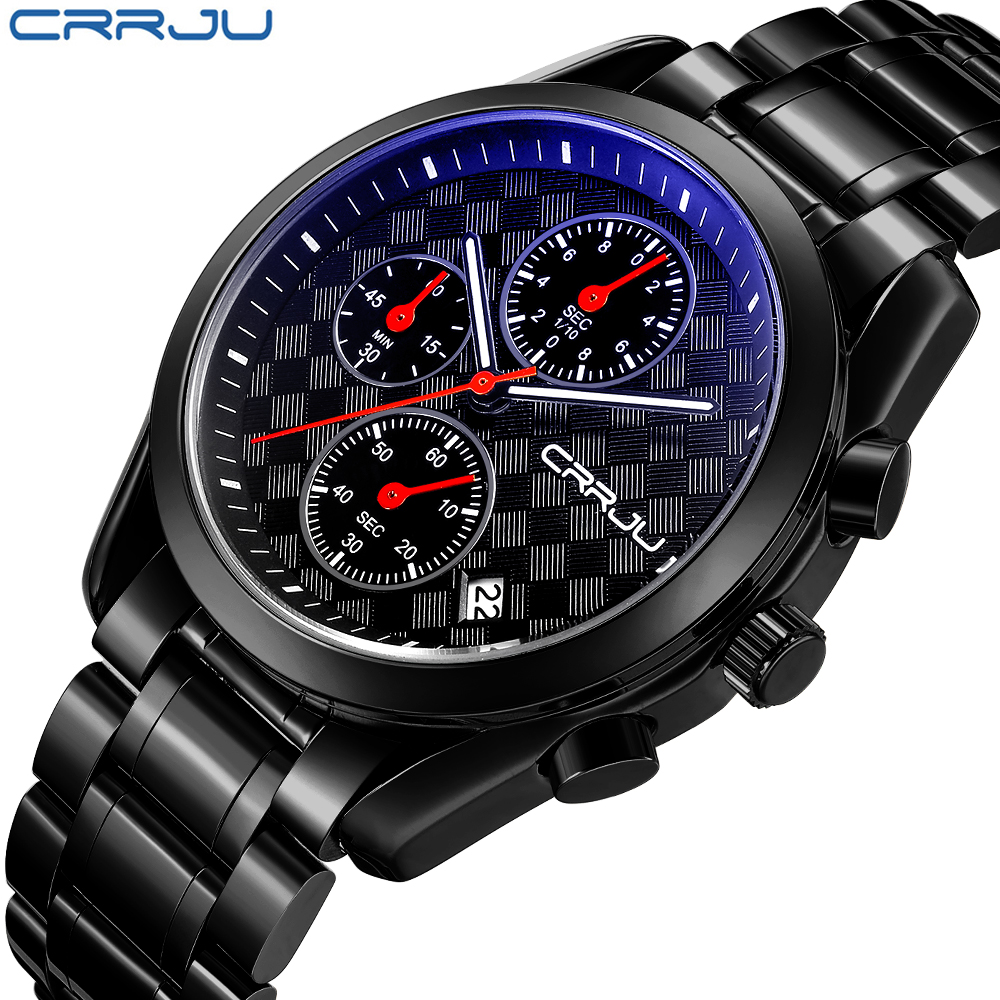 CRRJU  Men's Top Brand Fashion Business Analog Watches Male Quartz Casual Full Stainless Steel Clock Military Wrist Watch 2018 fashion black full steel men casual quartz watch men clock male military wristwatch gift relojes hombre crrju brand women watch