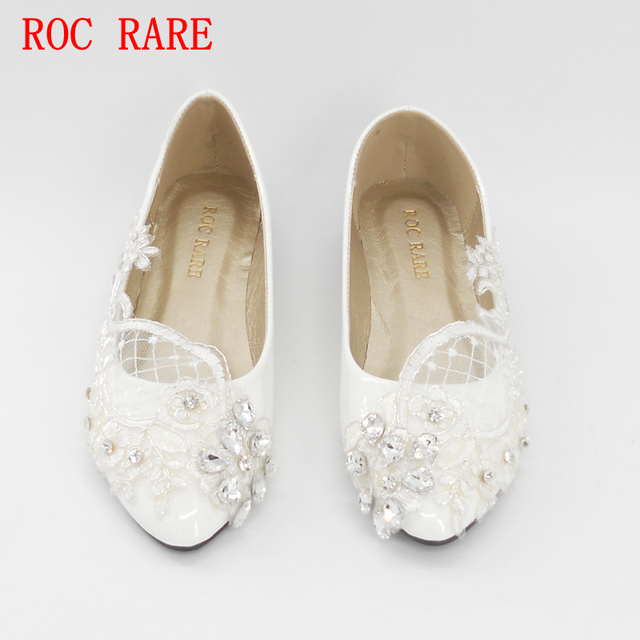 ROC RARE Silver Rhinestones White Lace Women Wedding Shoes Flat Heels  Pointed Toes Lace Party Shoes Custom Women Shoes c905e0a6441d