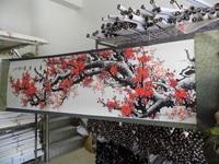 250CM large Huge TOP foreign business gift Home OFFICE SHOP WALL Decorative art Plum blossom bird FENG SHUI silk painting