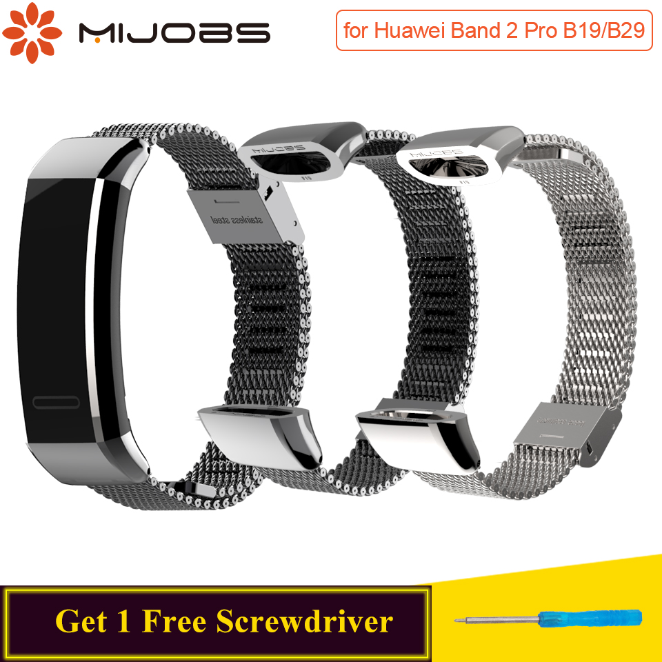 Mijobs Metal Strap For Huawei Sport Band 2 Pro B29 B19 Smart Watch Band Replace Wrist Strap For Huawei Band 2 Pro Strap Bracelet