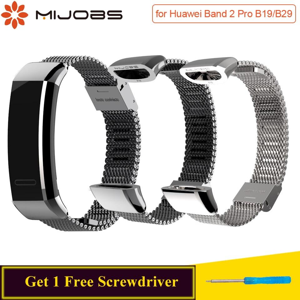Mijobs Tira de Metal para Huawei Banda Esporte 2 pro B29 B19 Substituir Alça de Pulso Faixa de Relógio Inteligente para Huawei de Banda 2 pró Cinta Pulseira