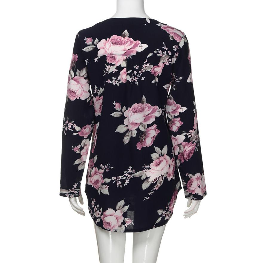 feitong 2018 Hot Sale New Arrival Summer Women Fashion Sexy full Sleeve Chiffon Floral V Neck Tops Vest Casual T-Shirt Clothes
