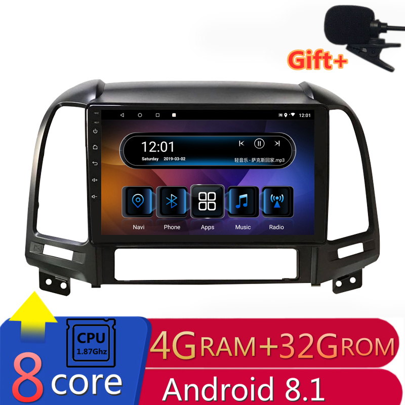 "9"" 4G RAM 2.5D IPS 8 Core Android 8.1 Car DVD Multimedia Player GPS for Hyundai Santa Fe 2006 07 08-2013 audio radio navigation"