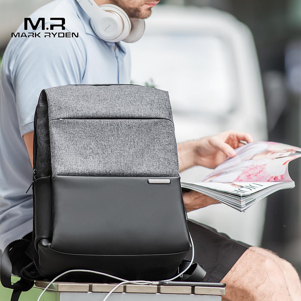 "Mark Ryden ผู้ชายกระเป๋าเป้สะพายหลังชายวัยรุ่น Mochila กลับ Anti thief USB ชาร์จ 15.6 ""กระเป๋าเป้สะพายหลังแล็ปท็อปกันน้ำ-ใน กระเป๋าเป้ จาก สัมภาระและกระเป๋า บน   1"