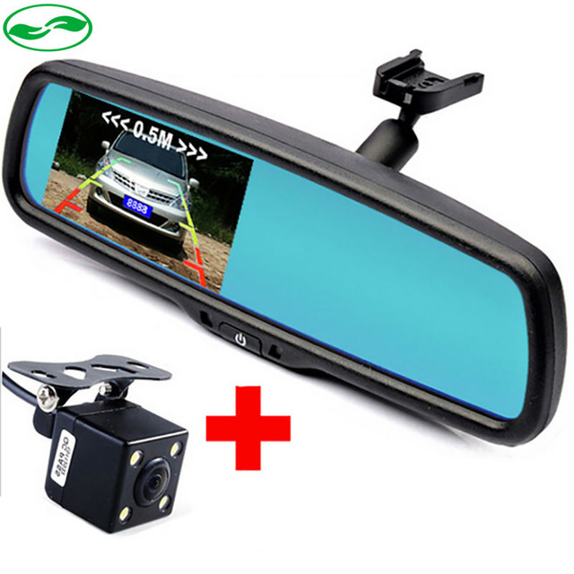 3in1 4.3 Auto Parking Mirror Monitor + HD CCD European Russia License Plate Frame Car Rear View Camera With 2 Radar Sensors car hd video auto parking monitor led night vision reversing ccd car rear view camera with 4 3 inch car rearview mirror monitor