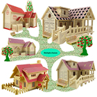 Romantic House Wood Puzzles Education Toy Diy 3d Mode House Toys Model Building Wooden 3d Puzzle For Kids And Adults Small House