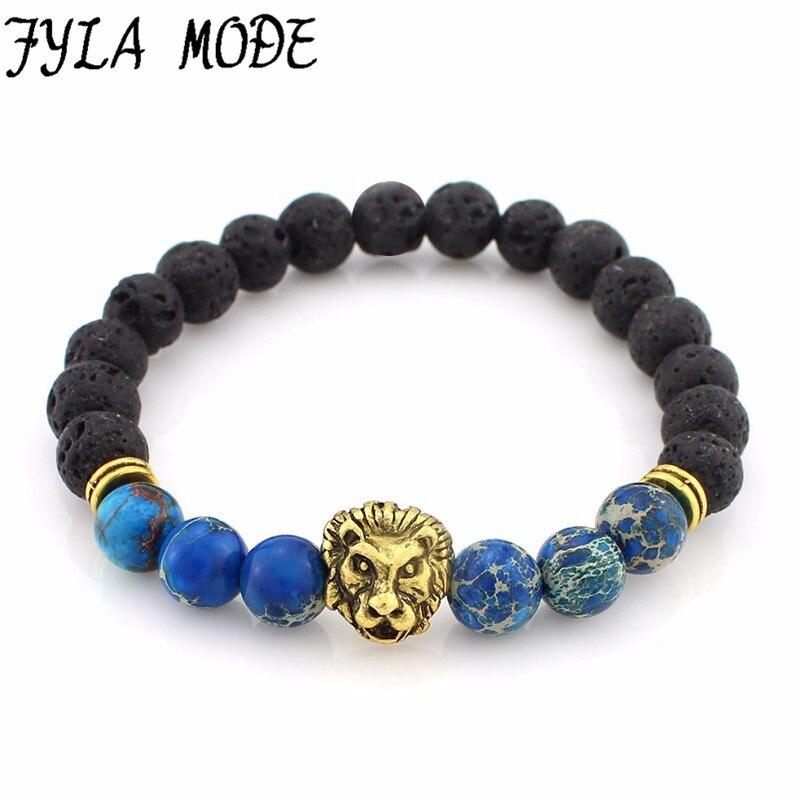 Fyla Mode New Fashion Vintage Charms Lion Head Tiger Eye Howlite Emperor Stone Beads Strand Bracelet Jewelry For Man Women