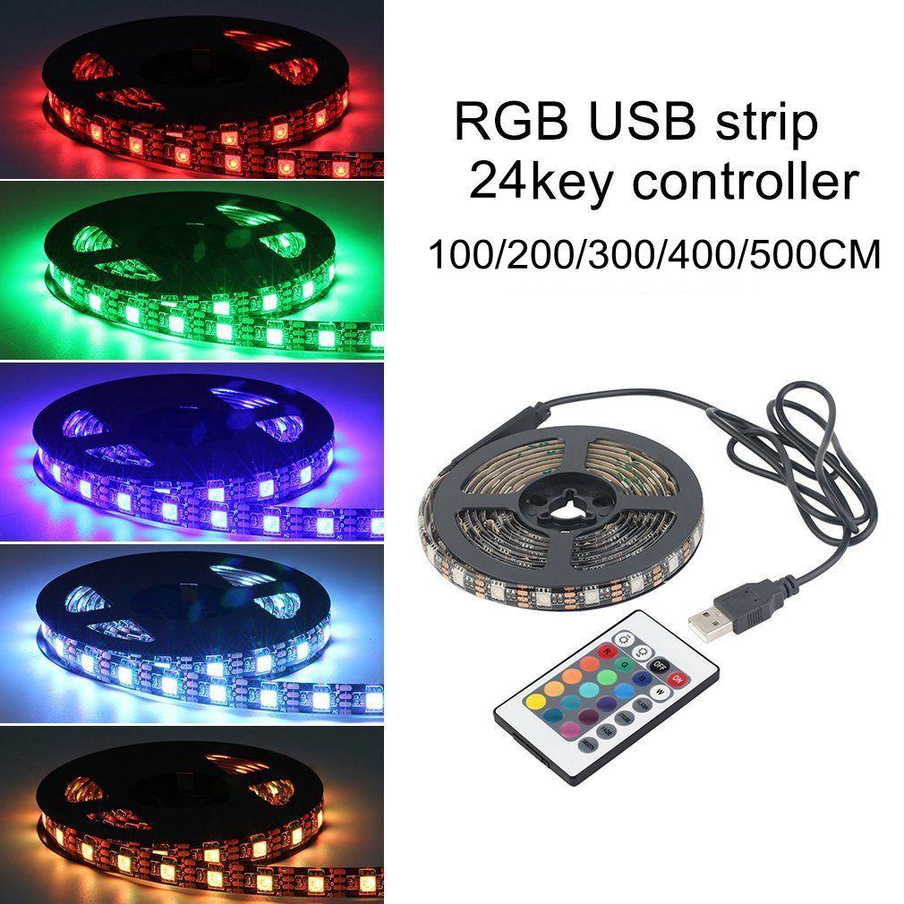 1 Set 0.5/1/3/4/5M SMD 5050 RGB LED Strip Light TV Back Lamp Kit with Remote Controller DC 5V USB Waterproof