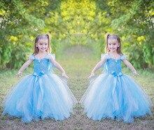 New Hot Sale 2016 Kids Fairy Blue Angel Princess Ball Gown Dress Cute Girls Birthday Halloween Christmas Child Bow Costume Gifts
