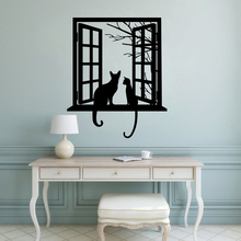 Cats Looking through Window Silhouette Wall Sticker Vinyl Art Removable Decoration For Livingroom Poster Mural For Bedroom W80 цена и фото