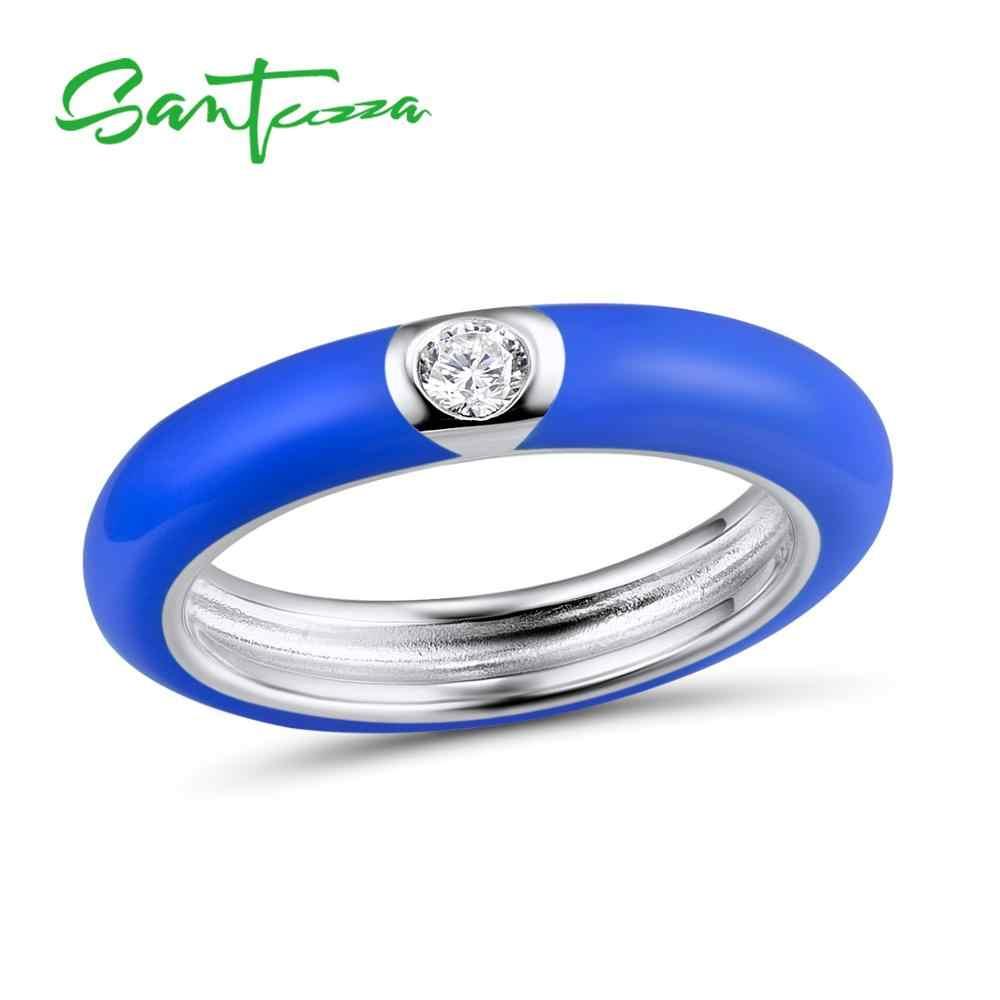 SANTUZZA แท้ 925 แหวนเงินผู้หญิงที่มีสีสัน STACKABLE แหวน Eternity แหวนเครื่องประดับอินเทรนด์ Handmade Enamel