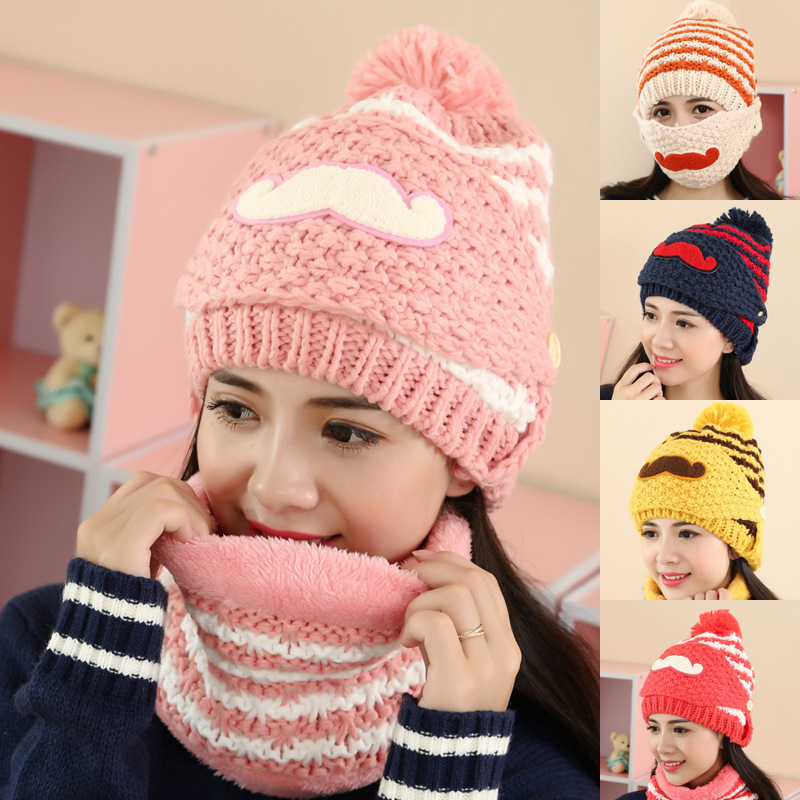 Cute Korean Winter Women Hat And Scarf Set Outdoor Cycling Mask Ski Balaclava Wool Warm Mustache Knitting Cap Hair Ball Hats skullies 2017 new arrival hedging hat female autumn and winter days wool cap influx of men and women scarf scarf hat 1866729