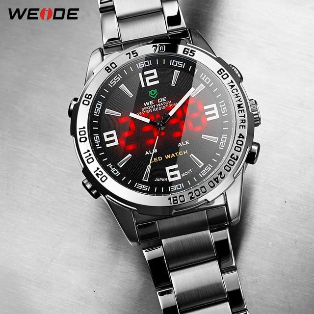 WEIDE hombres relojes de cuarzo Digital LED Hora de negocios Dial negro reloj de pulsera, reloj a prueba de ejército militar reloj Masculino 2019