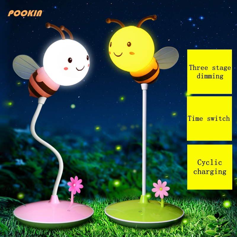 Creative USB  Charging Timing Touch Dimmable Cartoon Bee Desk Lamp Children Bedside Lamp Nightlight