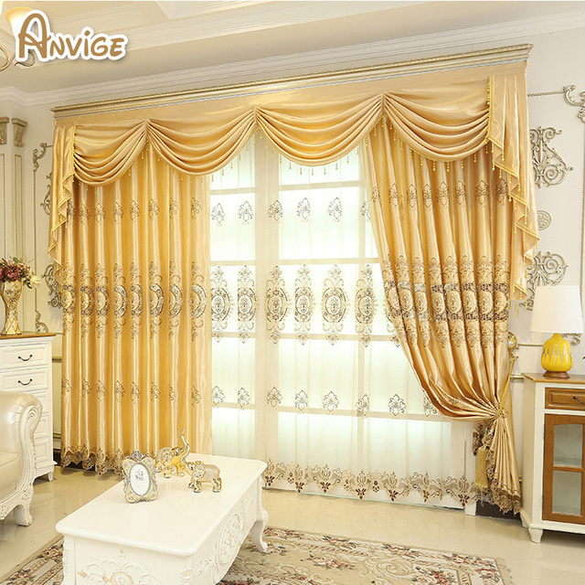 Blackout Curtains For Living Room Hotel European Simple: European Curtain Golden Color Luxury Blackout Window