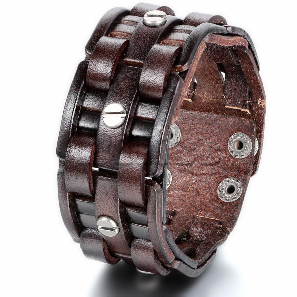 New Brown Leather Bracelets Rock Punk Wide Cuff Bracelet Bangle For Men Jewelry Accessory Whole 9 7 Inch Adjule