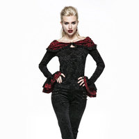 PUNK RAVE Gothic Black And Red Petal Sleeve Ruffled Collar Rose Flocking T Shirt With Cape