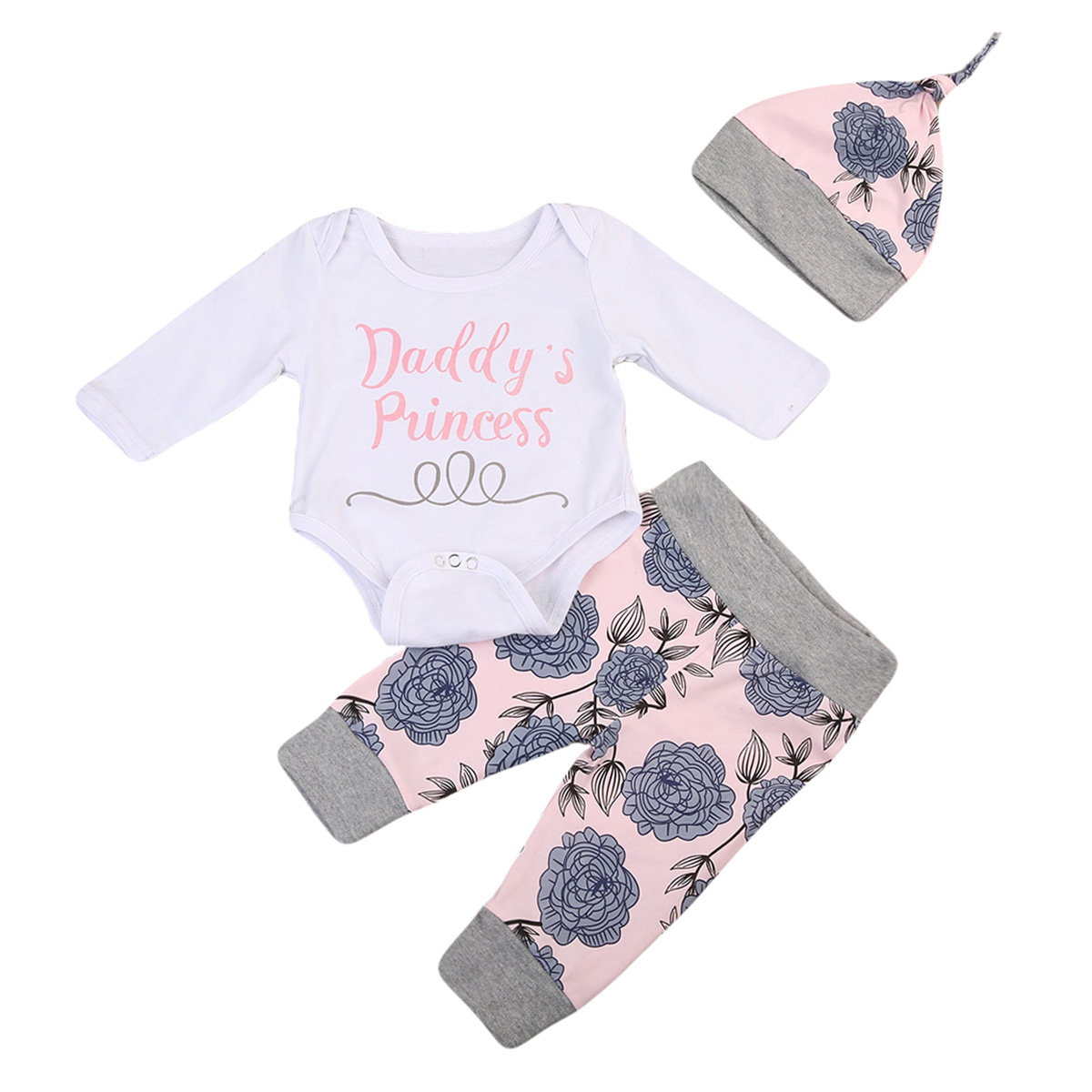Cute 3PCS Set Floral Newborn Baby Girl Clothes Cotton Tops Romper +Long Pants Hat Outfits 0-24M