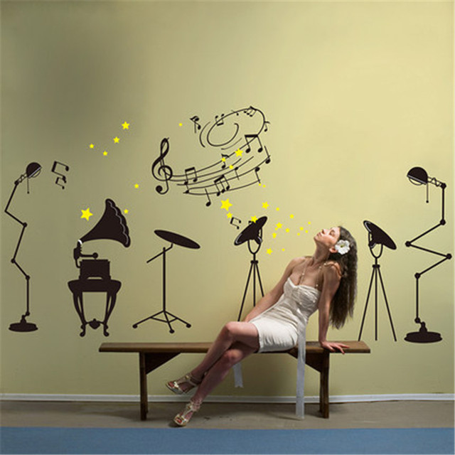 Home decor the band musical Instruments wall stickers for bar living ...
