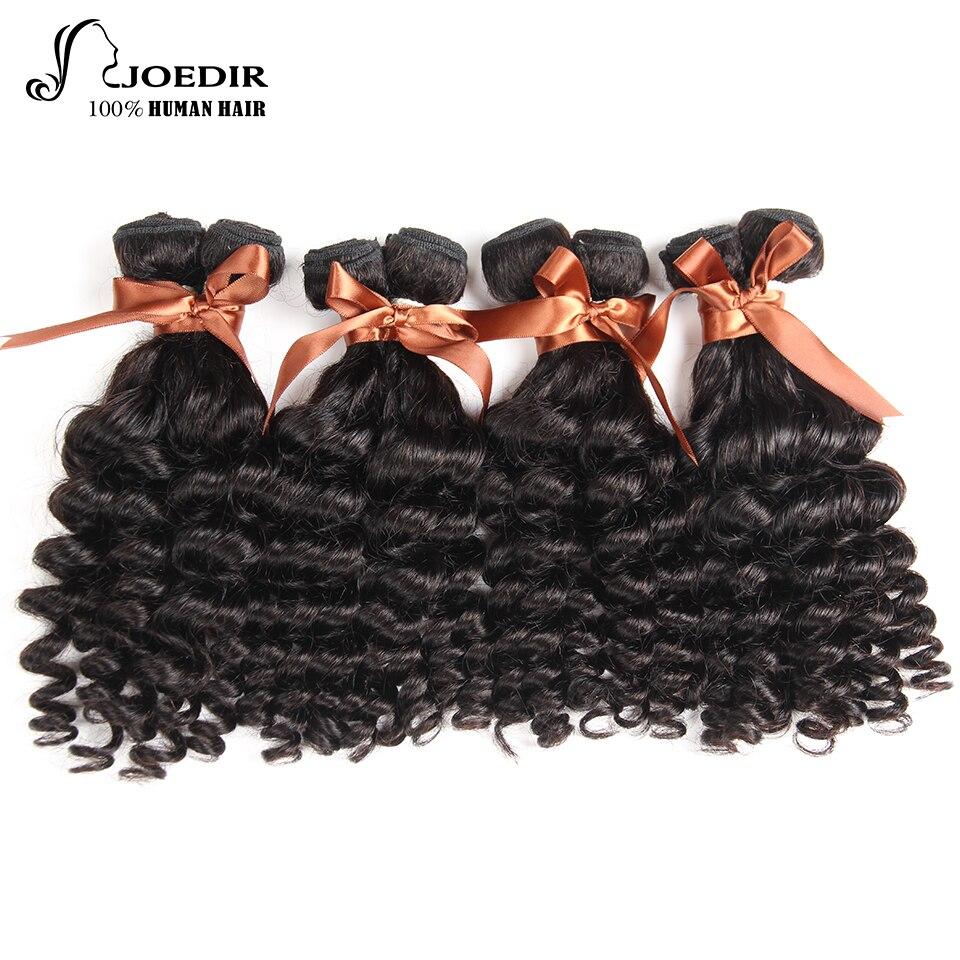 Joedir Funmi Curly 4 Bundles One Pack Human Hair Weaving Natural Color 10-26 inchs Hair Bundles Extensions Non Remy