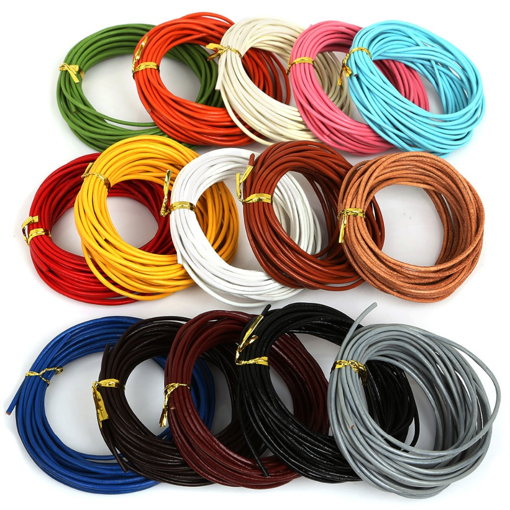1/1. 5/2/3mm cabo fio 5 m couro genuíno cordas corda redonda para fazer jóias pulseira colar artesanato acessórios diy