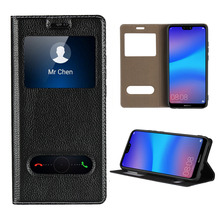 LUCKBUY For Huawei Nova 3 Ultra Thin Flip Cover Case Dual Window View Stand Genuine Leather Phone for P20 Lite Nova3
