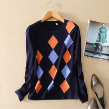 Pure Cashmere Women s Pullovers Knitted Argyle Pattern O neck Long Sleeves Sweater Warm Autumn winter