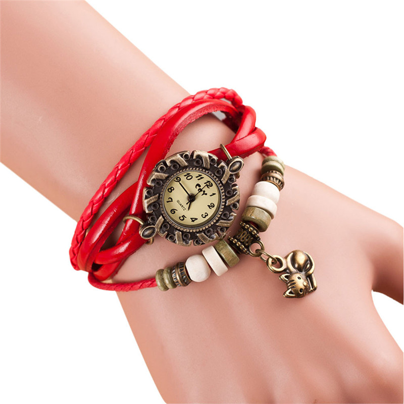 Ladies Quartz Watch Gift Female Clock Fashion Weave Around Leather Cat Bracelet Watch Woman Wrist Watch