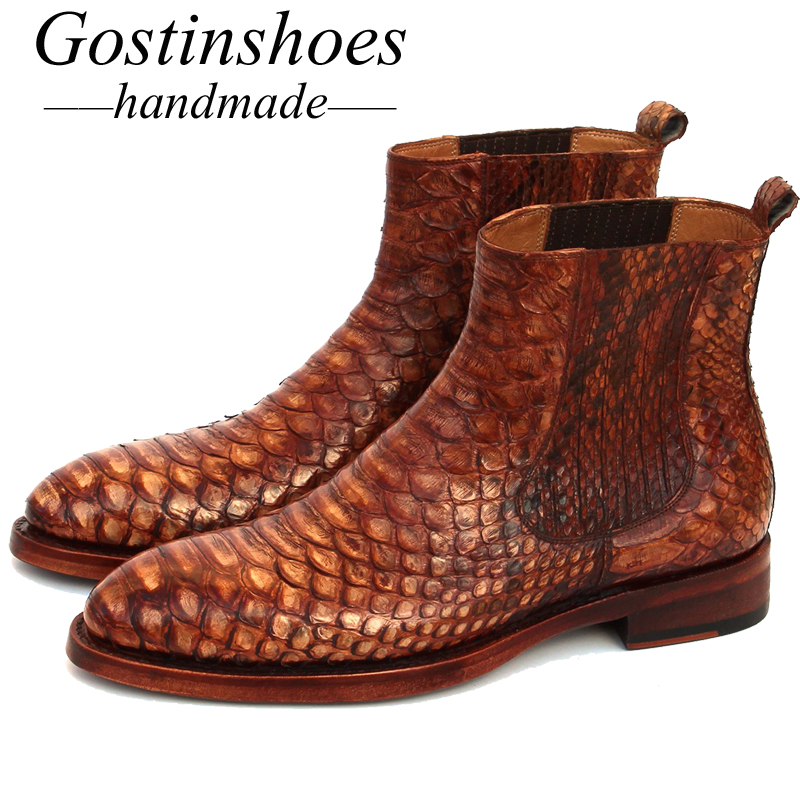 GOSTINSHOES HANDMADE Goodyear Welted Luxury Men Boots Brown Genuine Snakeskin Chelsea Ankle Boots Red Leather Outsole SCF2