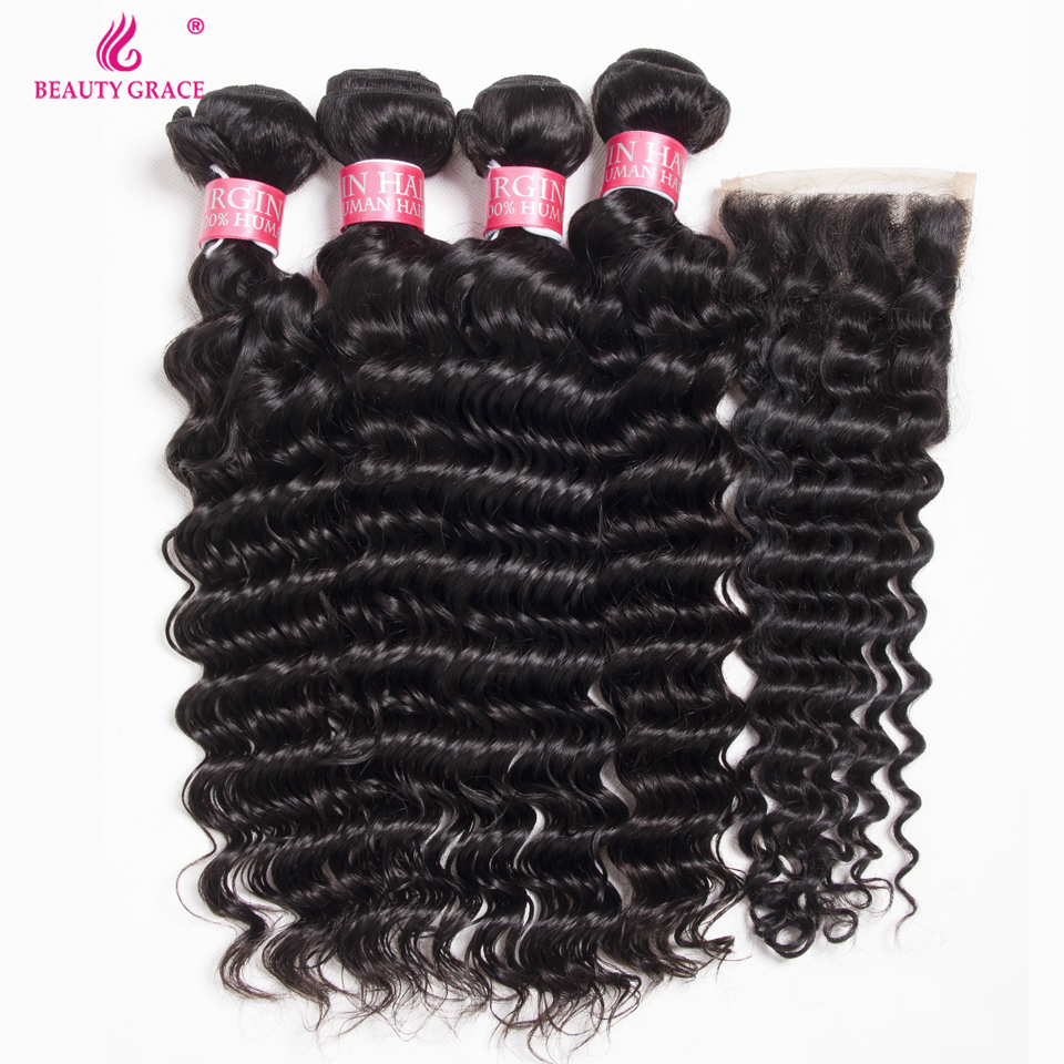 Beauty Grace Hair Deep Wave Bundles With Closure 100% Human Hair Free Part Non Remy Brazilian Curly Hair 4 Bundles With Closure