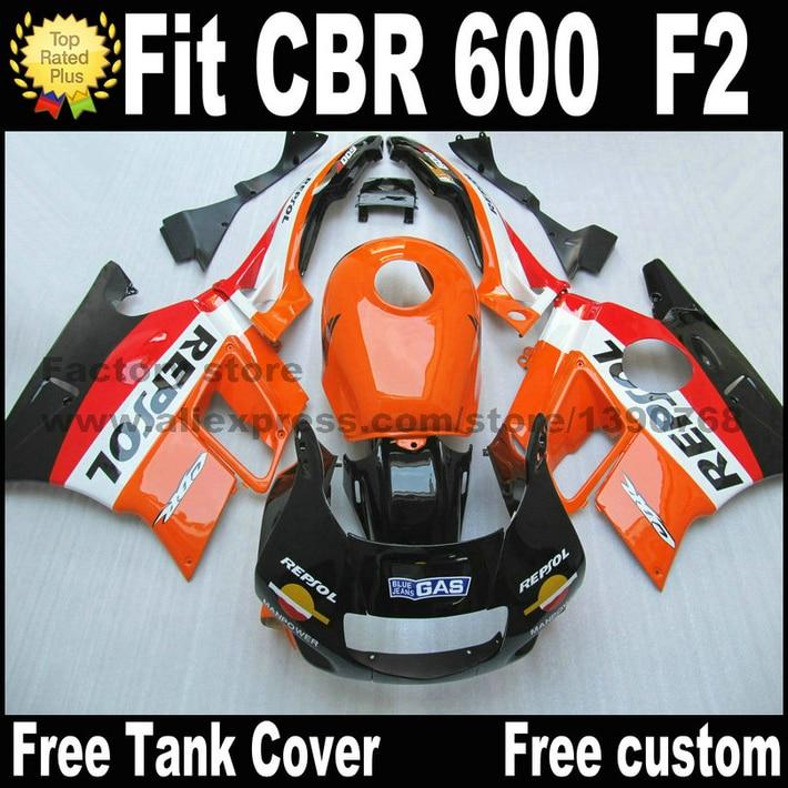 Customize fairing kit for HONDA CBR 600 F2 1991 1992 1993 1994 fairings CBR600 91 92 93 94 orange black REPSOL plastic  CV58