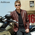 Brand Fashion Motocycle Leather Jacket Men O-Neck Slim Casual Mens Fur Leather Jackets PU Faux Leather Windproof Coat