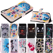 Fashion Leather Flip Wallet Case Cat Butterfly Mobile Phone