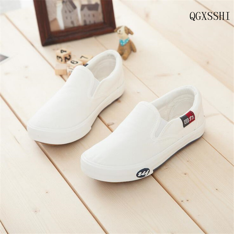 QGXSSHI 2016 Autumn Children Shoes Girls Boys Child Canvas Shoes Baby White Sneaker Cotton-made Baby Single Shoes Toddler Shoes