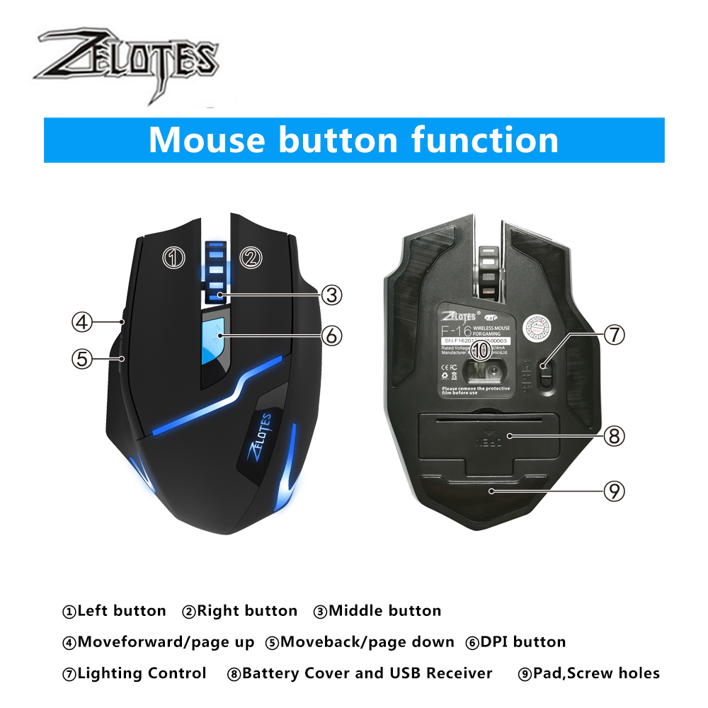 Image 4 - ZEALOT F 16 Optical 2400 DPI Wireless Gaming Mouse 2.4 GHz Portable Game Mice with USB Receiver for Computer PC Laptop-in Mice from Computer & Office