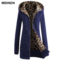 Hoodies Women Clothing Online Shopping Hedging Long Section Plus Velvet Women Leopard Print Hoodies LR2
