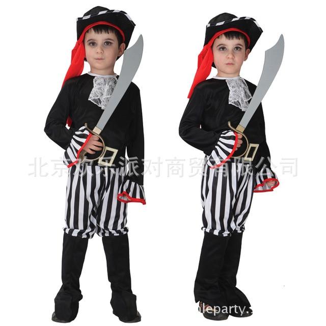 kids halloween costume boy new fashion role playing costume boy elegant little pirate costume make up