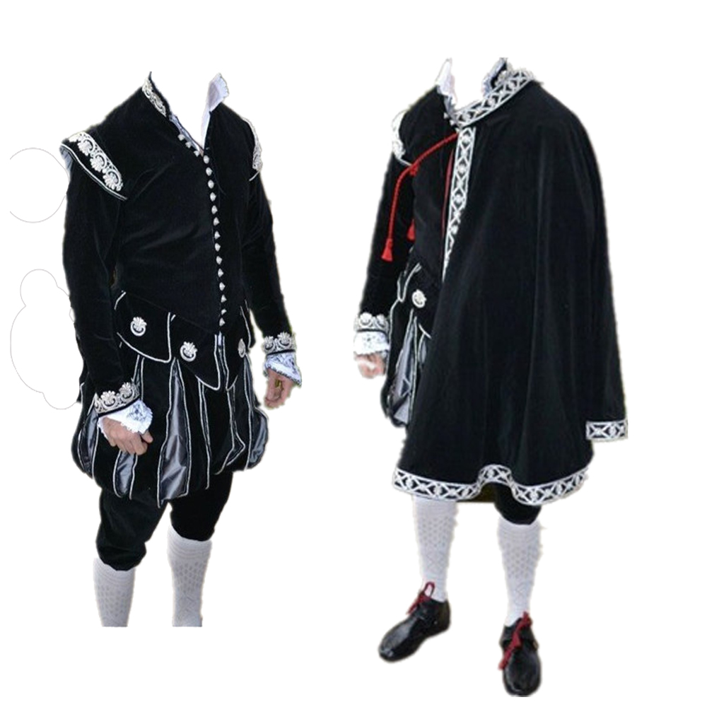 Queen Elizabeth Tudor Period Medieval Men cosplay black outfit Vintage Men's Costumes Medieval Renaissance black Gown with cape