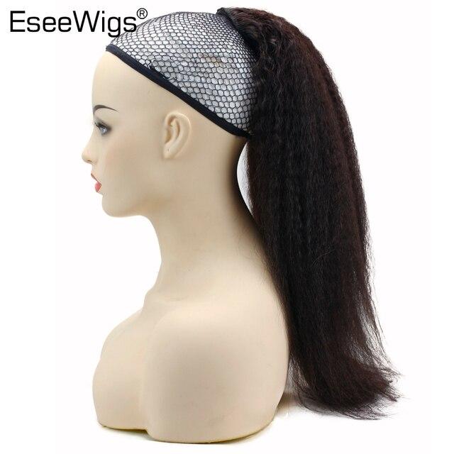 Pelo humano recto rizado Cola de Caballo para mujeres negras pinzas de pelo Remy de Color Natural en extensiones de cola de caballo con cordón