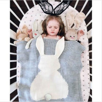Baby Blanket Cute Rabbit Animals Pattern Sleep Bag Soft Warm Wool Swaddle Kids Bath Towel Play