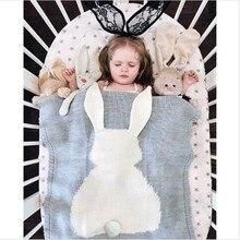 Baby Blanket Cute Rabbit Animals Pattern Sleep Bag Soft Warm Wool Swaddle Kids Bath Towel Play Mat 73x108cm