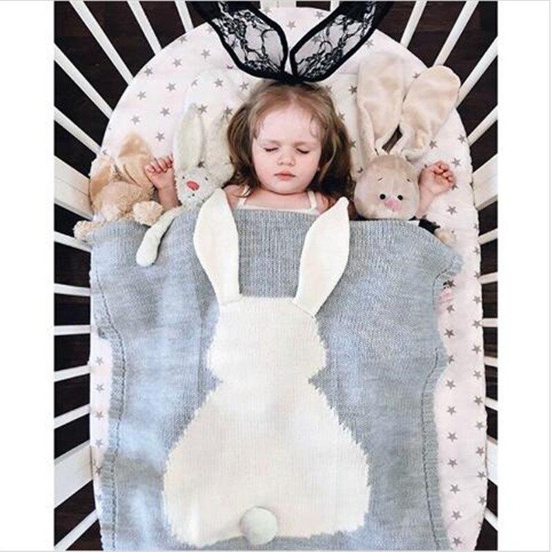 Couverture de bébé Mignon Lapin Animaux Motif Sommeil Sac Doux Chaud Laine Swaddle Enfants Serviette De Bain Tapis de Jeu 73x108 cm