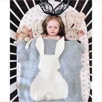 Baby Blanket Cute Rabbit Animals Pattern Sleep Bag Soft Warm Wool Swaddle Kids Bath Towel Play