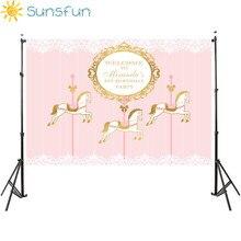 Sunsfun licorne thème fête danniversaire toile de fond cirque carnaval carrousel cheval rose rayures fond photographie photo tir