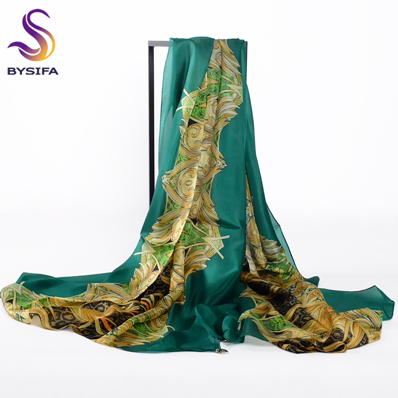 [BYSIFA] Women Pendant Silk Long   Scarf   Shawl Bufandas New Brand Autumn Winter 100% Mulberry Silk Top Grade Silk   Scarves     Wraps