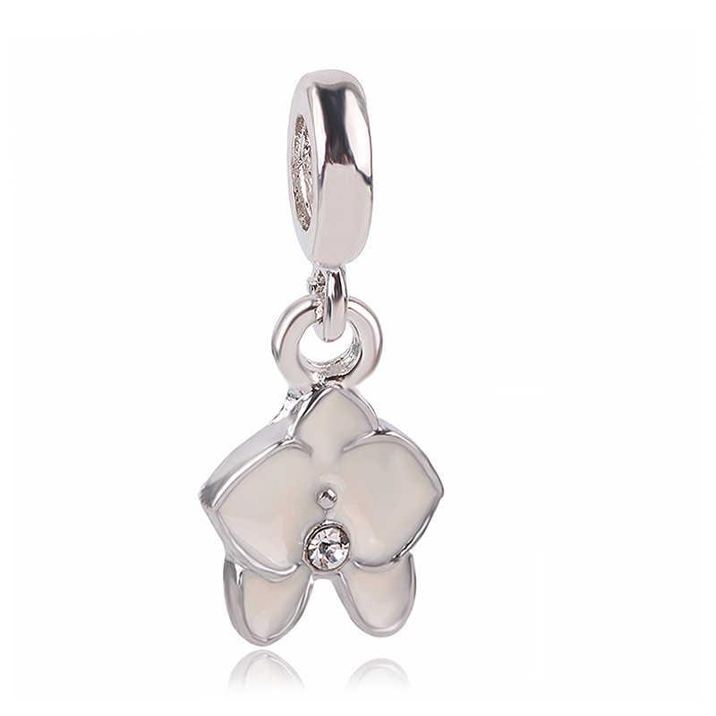 Dodocharms серебряный цвет девушка цветок горячий воздух подвеска в виде шара амулет с хрустальной бусиной Fit Pandora женщин DIY Браслеты и браслеты ювелирные изделия